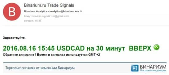 Торговые сигналы Бинариум